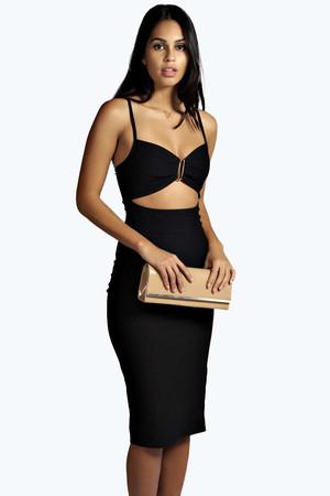 Strappy Cut Out Waist Bodycon Dress - black