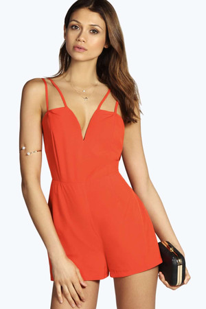Strappy Detail Woven Playsuit orange