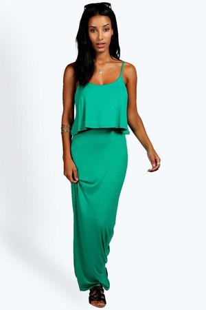 Strappy Frill Top Maxi Dress - bright green
