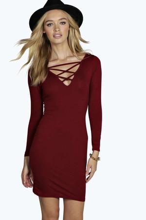 Strappy Insert Detail Bodycon Dress berry