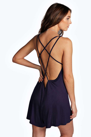 Strappy Jersey Playsuit - navy