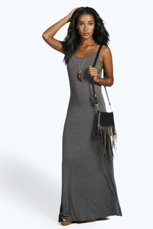 Strappy Low Back Maxi Dress charcoal