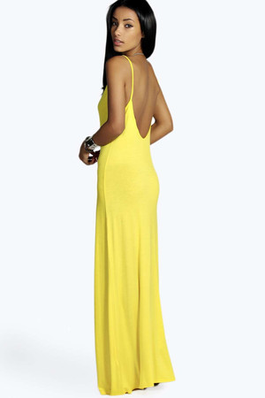 Strappy Low Back Maxi Dress - yellow