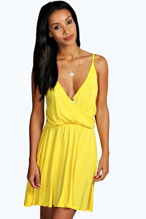 Strappy Wrap Back Skater Dress yellow