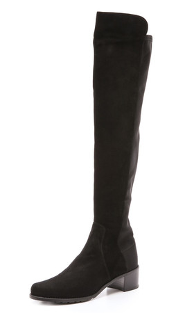 Stuart Weitzman Reserve Stretch Suede Boots - Black