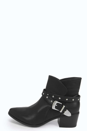 Stud And Buckle Western Boots black