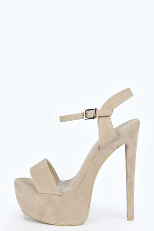 Suedette Ankle Strap Platform Heels nude