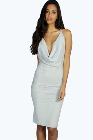 Suedette Cowl Neck Midi Bodycon Dress pale blue