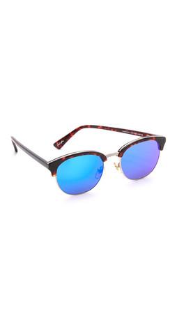 Sunday Somewhere Kendall Mirrored Sunglasses - Dark Chocolate Tortoise/Blue