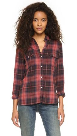 Sundry Flannel Plaid Shirt - Burgundy