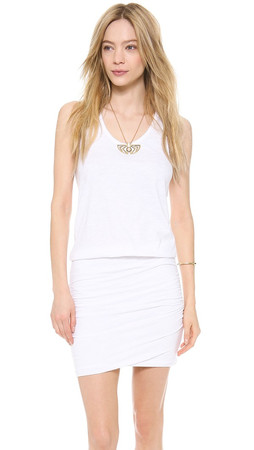 Sundry Ruched Tank Dress - White