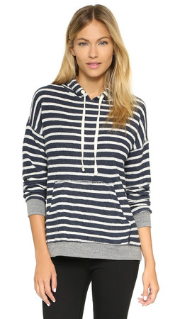 Sundry Stripe Pullover Hoodie - Navy/White/Heather Grey