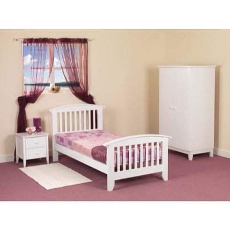 Sweet Dreams Robin Kids Bedroom Furniture Set with Single Bed Frame in White - with mattress