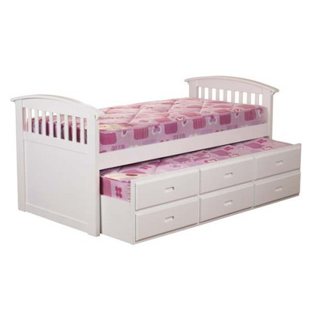 Sweet Dreams Robin Kids Storage Trundle Guest Bed in White
