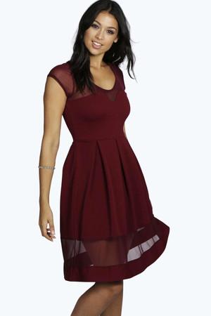 Sweetheart Mesh Insert Skater Dress berry