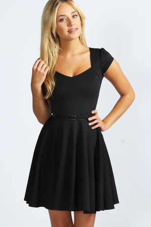 Sweetheart Neck Skater Dress - black