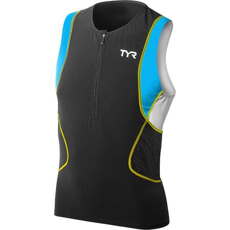 TYR Triathlon Tank 2015 - S Black/Blue/Yellow | Tri Tops