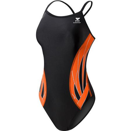 """TYR Women's Phoenix Splice Diamondfit Swimsuit - 26"""" Black/Orange"""
