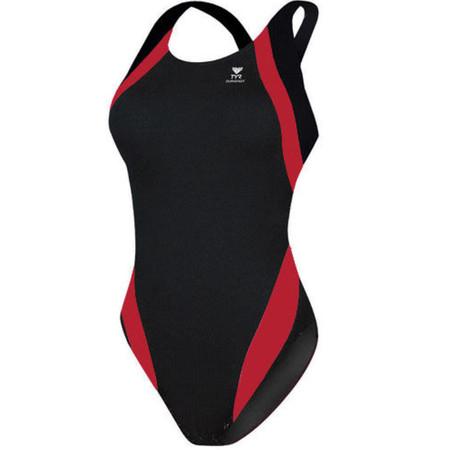 """TYR Women's  Titan Splice Maxback Swimsuit - 36"""" Black/Red"""
