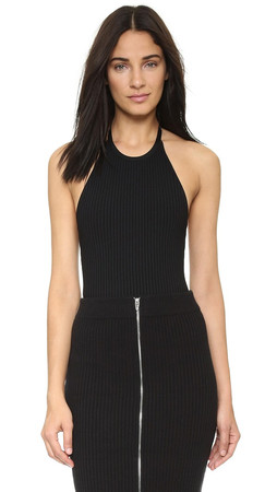 T By Alexander Wang 3X3 Ribbed Halter Bodysuit - Black