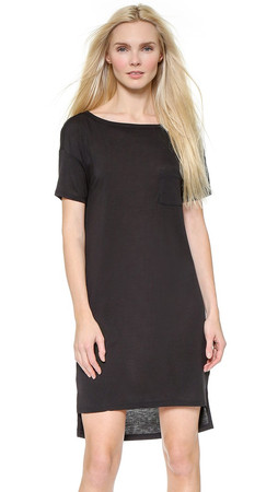 T By Alexander Wang Classic Boat Neck Dress With Pocket - Black