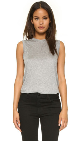 T By Alexander Wang Classic High Neck Flared Tank - Heather Grey