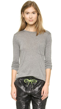 T By Alexander Wang Classic Long Sleeve Tee With Pocket - Heather Grey