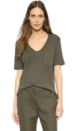 T By Alexander Wang Classic Tee With Pocket - Lichen
