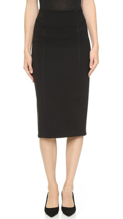 T By Alexander Wang Double Knit Ponte Skirt - Black