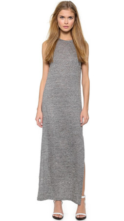 T By Alexander Wang Heather Linen Muscle Dress - Charcoal