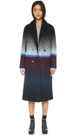 T By Alexander Wang Horizon Stripe Car Coat - Black And Azure