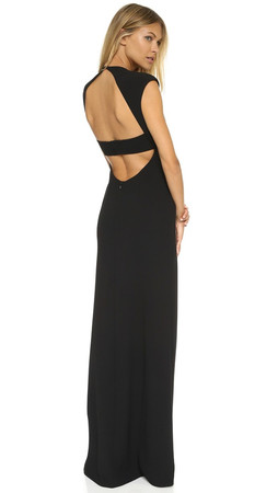 T By Alexander Wang Matte Crepe Exposed Back Gown - Black