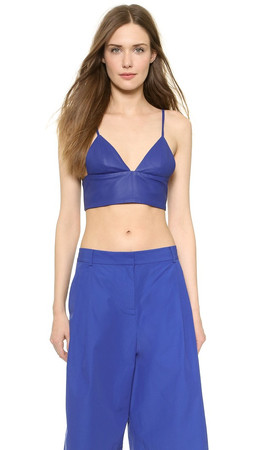 T By Alexander Wang Matte Leather Bralette - Iris