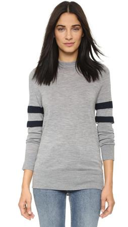 T By Alexander Wang Merino Stripe Pullover - Heather Grey