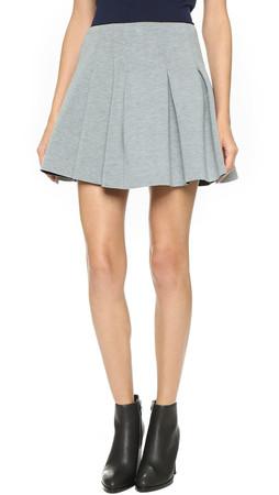 T By Alexander Wang Scuba Neoprene Box Pleat Skirt - Heather Grey