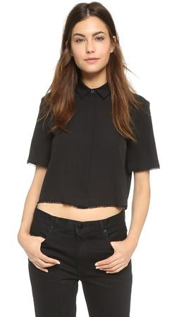 T By Alexander Wang Silk Cropped Shirt - Black
