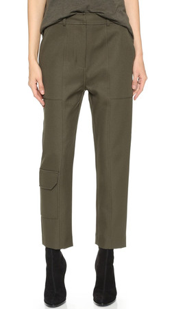 T By Alexander Wang Sleek Twill Cargo Pants - Lichen