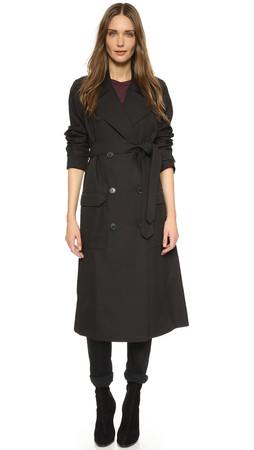 T By Alexander Wang Sleek Twill Trench Coat - Black
