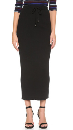 T By Alexander Wang Superfine Merino Maxi Skirt - Black