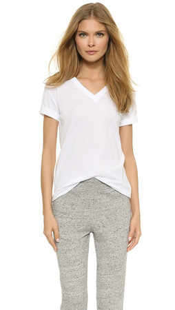 T By Alexander Wang Superfine V Neck Tee - White