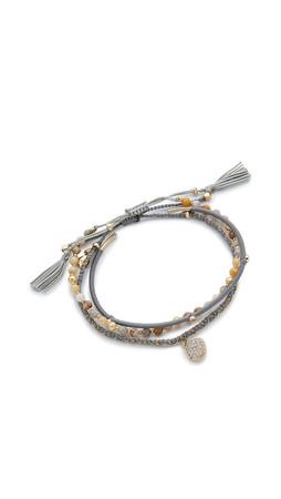 Tai Pave Disc Bracelet Set - Grey