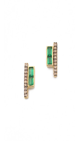 Tai Row Earrings - Green/Gold