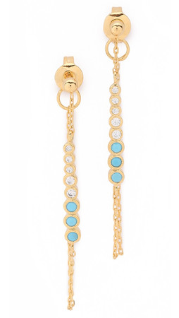 Tai Stone Chain Earrings - Turquoise/Gold