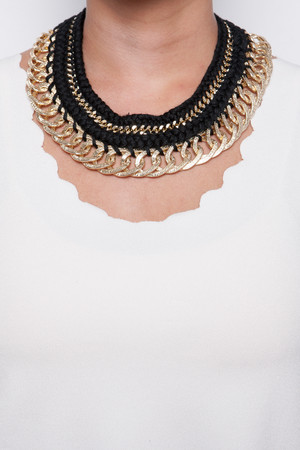 Taylor Black & Gold Rope Chain Necklace