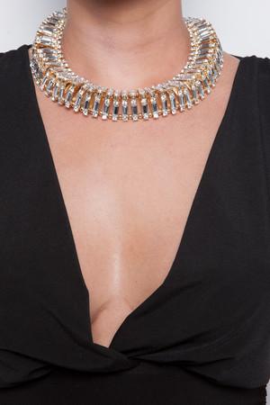 Taylor Gold Triangle Diamante Necklace