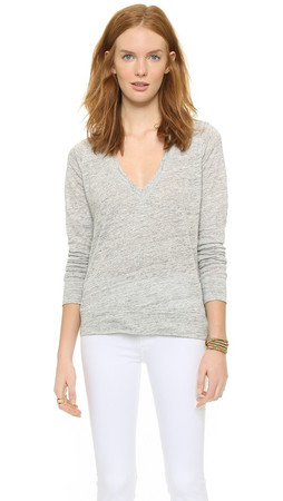 Theory Zephyr Melange Dalphon Sweater - Light Grey