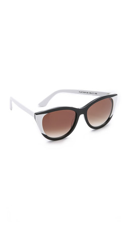 Thierry Lasry Flattery Sunglasses - Black White/Brown
