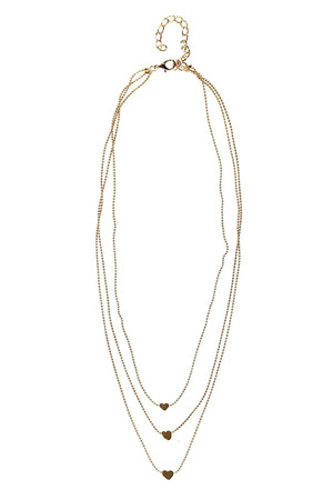 Three Strand Skinny Chain Necklace gold