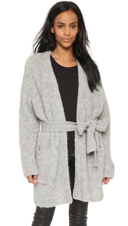 Tibi Cozy Alpaca Cardigan - Light Grey