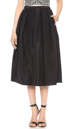 Tibi Silk Faille Skirt - Black